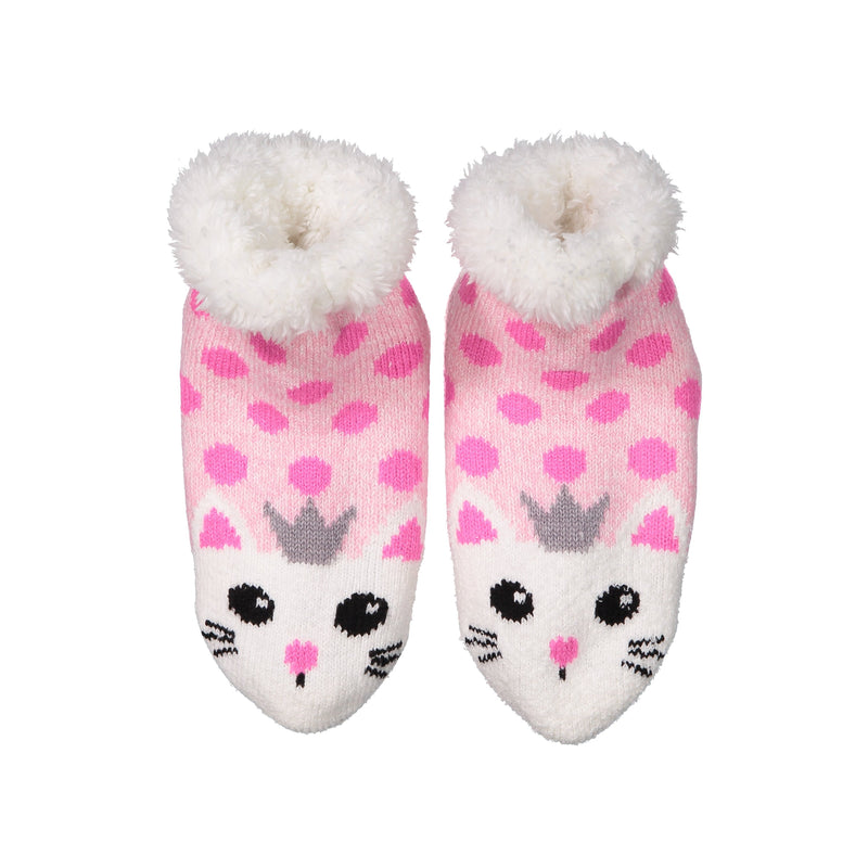 Kids Princess Kitty Cat Slipper Socks with Sherpa Lining