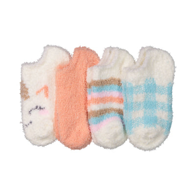 Kids Fuzzy Ankle Socks - 4 pk