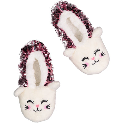 Kids Kitty Cat Slipper Socks with Reversible Sequins