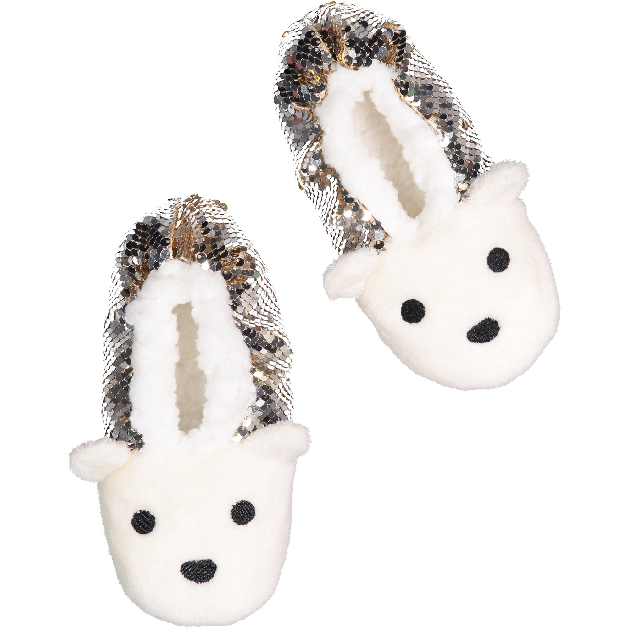 Kids Bear Slipper Socks with Reversible Sequins