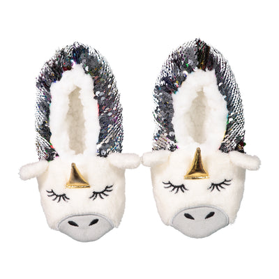 Kids Unicorn Slipper Socks with Reversible Sequins