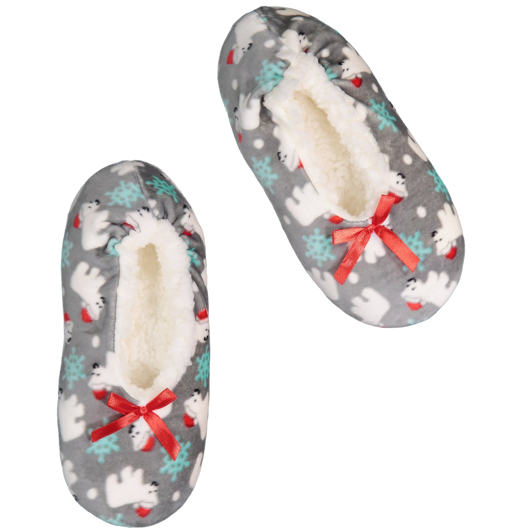 Kids Polar Bear Print Stretchy Holiday Slipper Socks