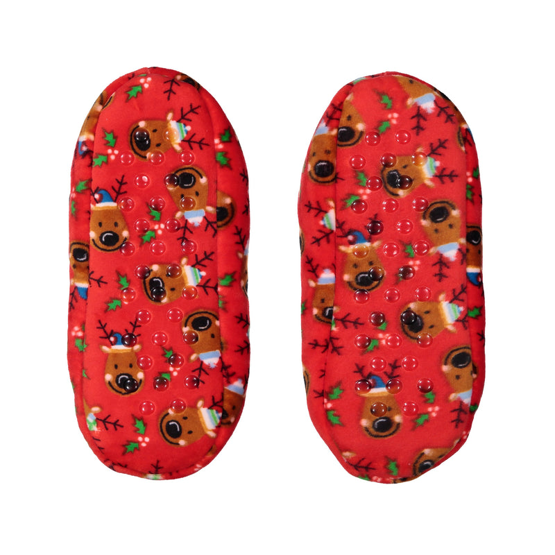 Kids Reindeer Print Stretchy Holiday Slipper Socks