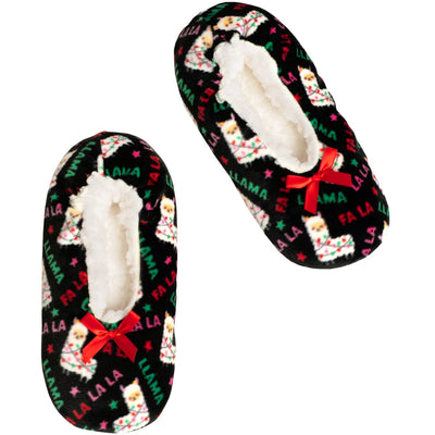 Kids Llama Print Stretchy Holiday Slipper Socks