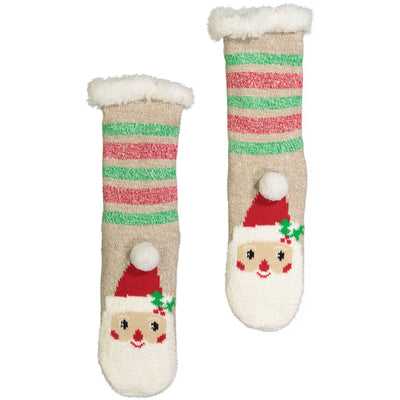 Women's Santa Claus Holiday Slipper Sock with Sherpa Lining