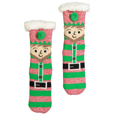 Women's Elf Holiday Slipper Sock with Sherpa Lining