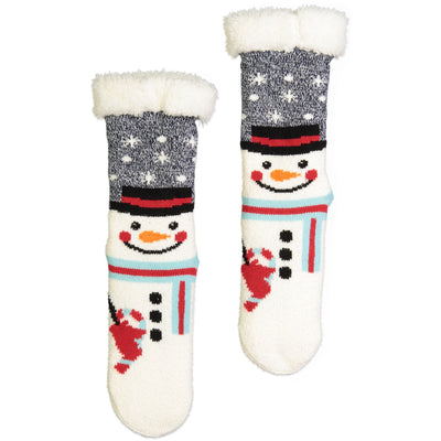 Women's Snowman Slipper Sock with Sherpa Lining