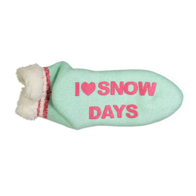 "Women's ""I Love Snow Days"" Short Slipper Sock with Sherpa Lining - Fuzzy Babba"