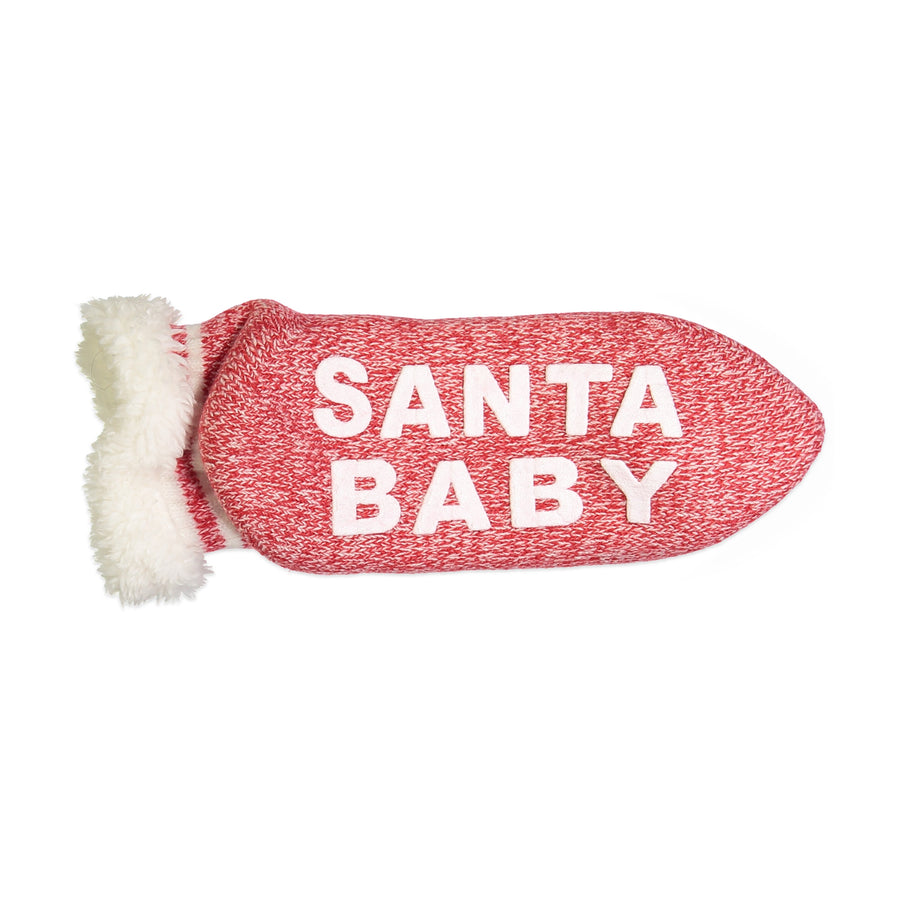 "Women's ""Santa Baby"" Short Slipper Sock with Sherpa Lining"