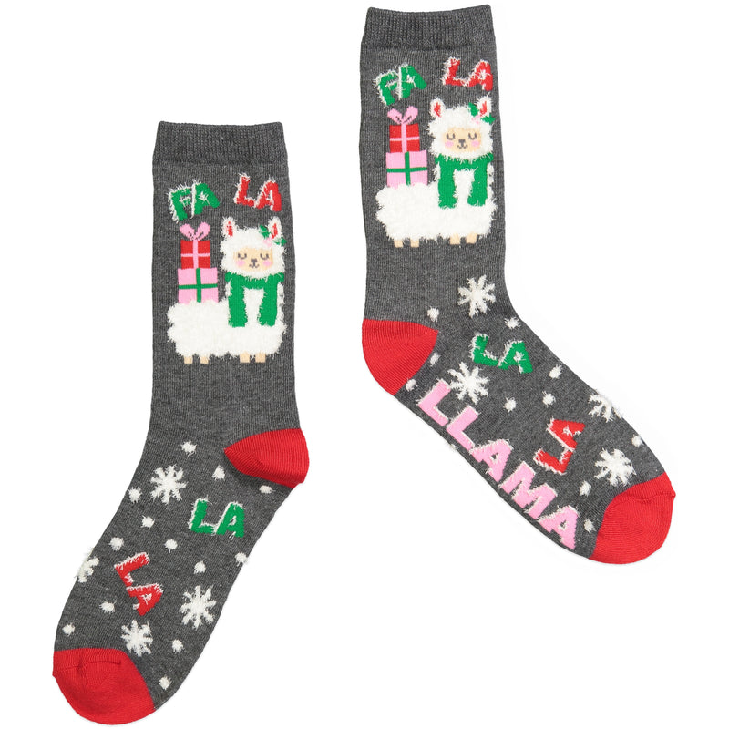 Women's Llama Holiday Crew Sock