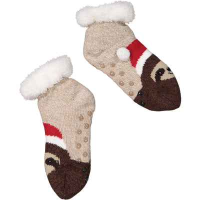 Women's Cozy Sloth Holiday Knit Slipper Socks with Sherpa Lining
