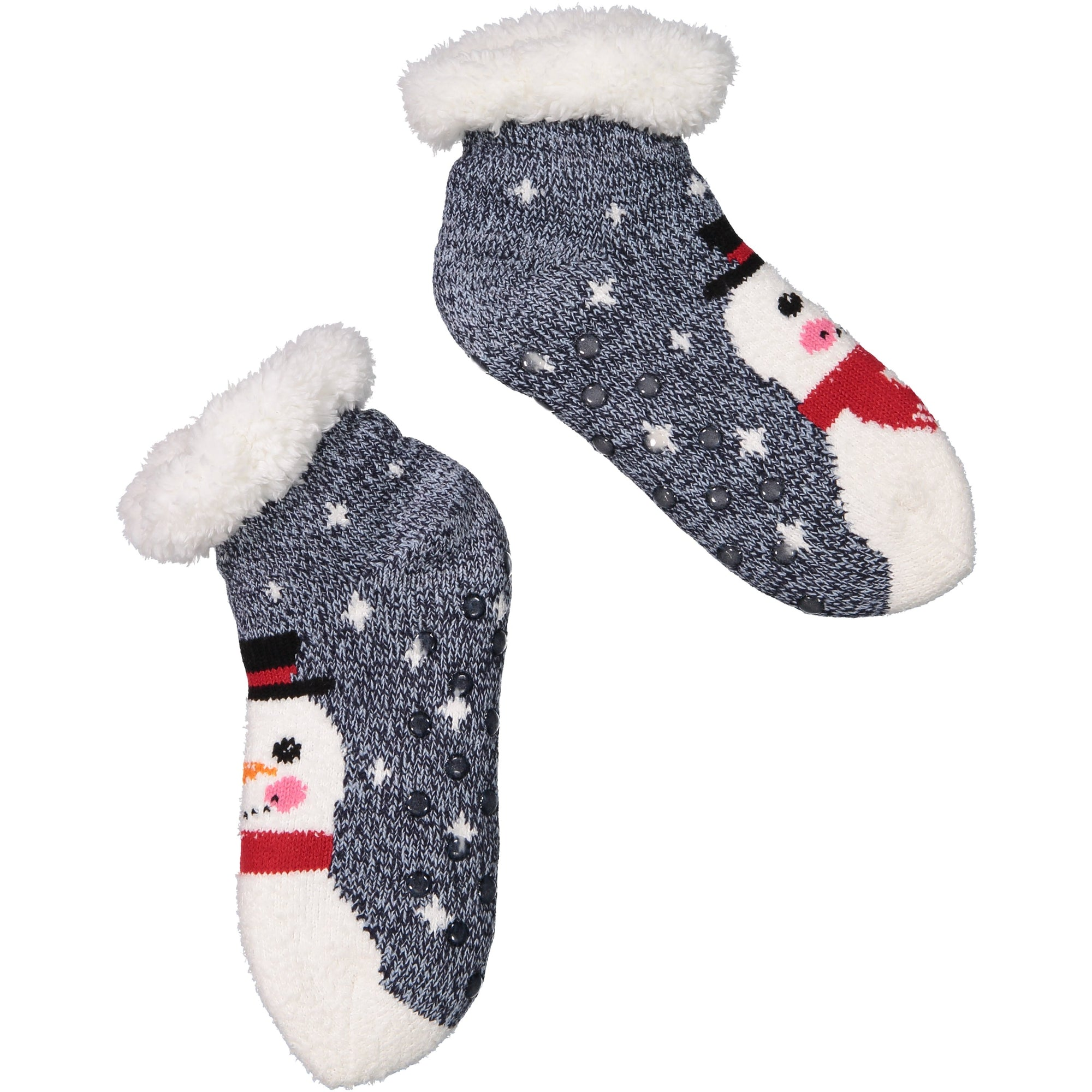 Women's Cozy Snowman Holiday Knit Slipper Socks with Sherpa Lining