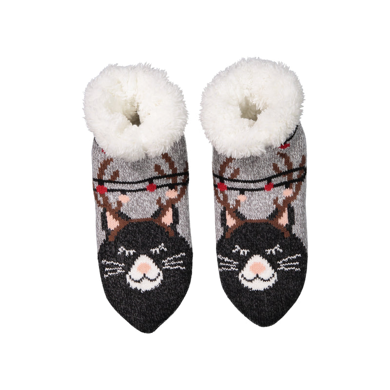 Women's Cozy Kitty Cat Holiday Knit Slipper Socks with Sherpa Lining