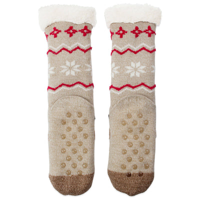 Women's Reindeer Holiday Slipper Socks with Sherpa Lining