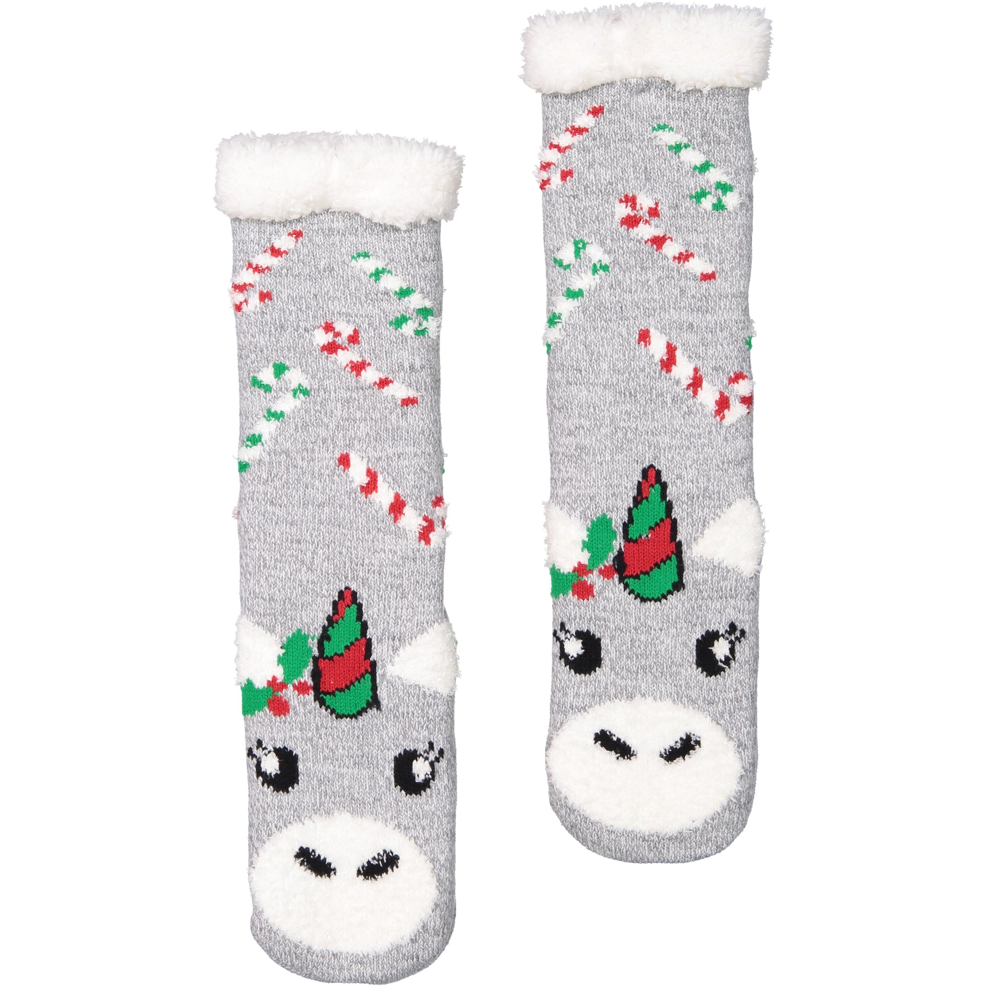 Women's Festive Unicorn Holiday Slipper Socks with Sherpa Lining