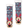Women's Festive Pug Dog Holiday Slipper Socks with Sherpa Lining