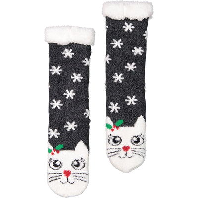 Women's Festive Kitty Cat Holiday Slipper Socks with Sherpa Lining