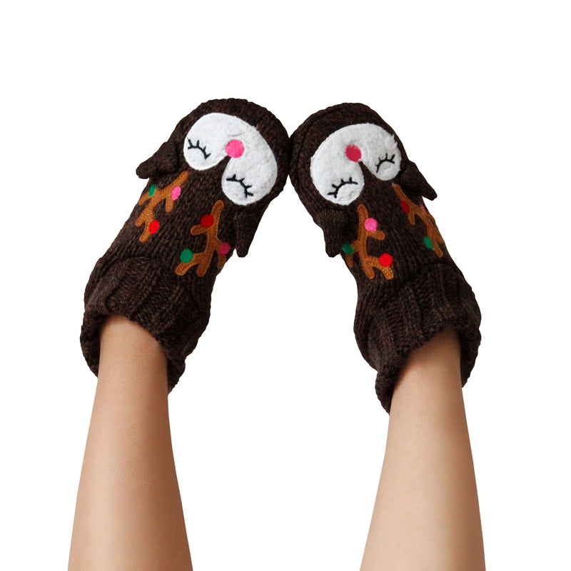 Women's Cozy Holiday Knit Slipper Socks with Reindeer Face and Sherpa Lining
