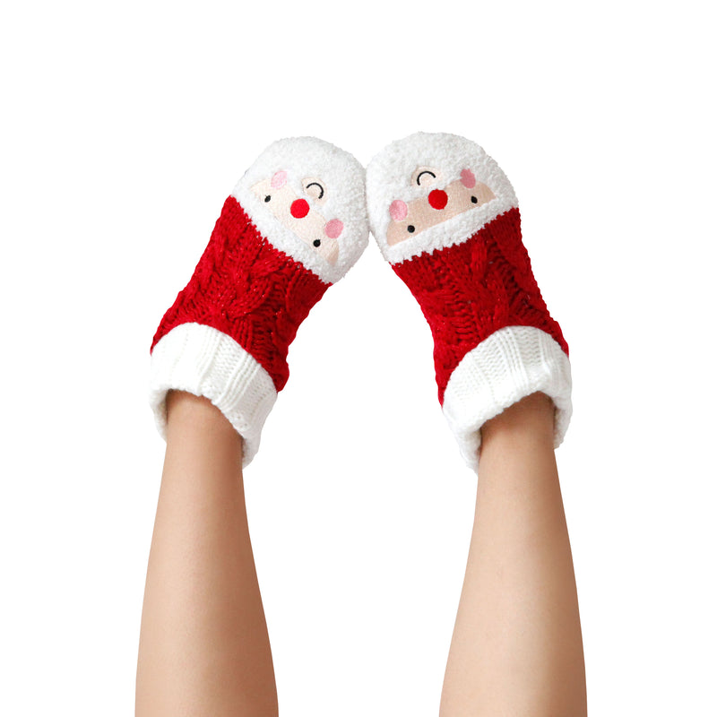 Women's Cozy Holiday Knit Slipper Socks with Santa Faceand Sherpa Lining