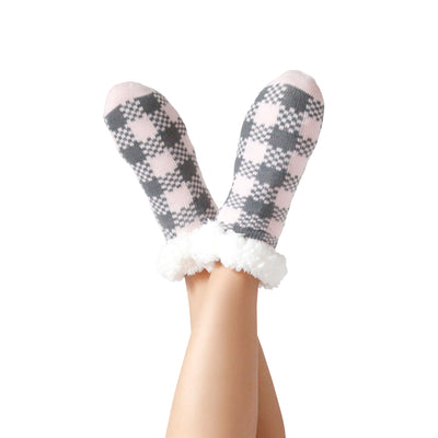 Women's Holiday I Love Snow Slipper Socks with Sherpa Lining