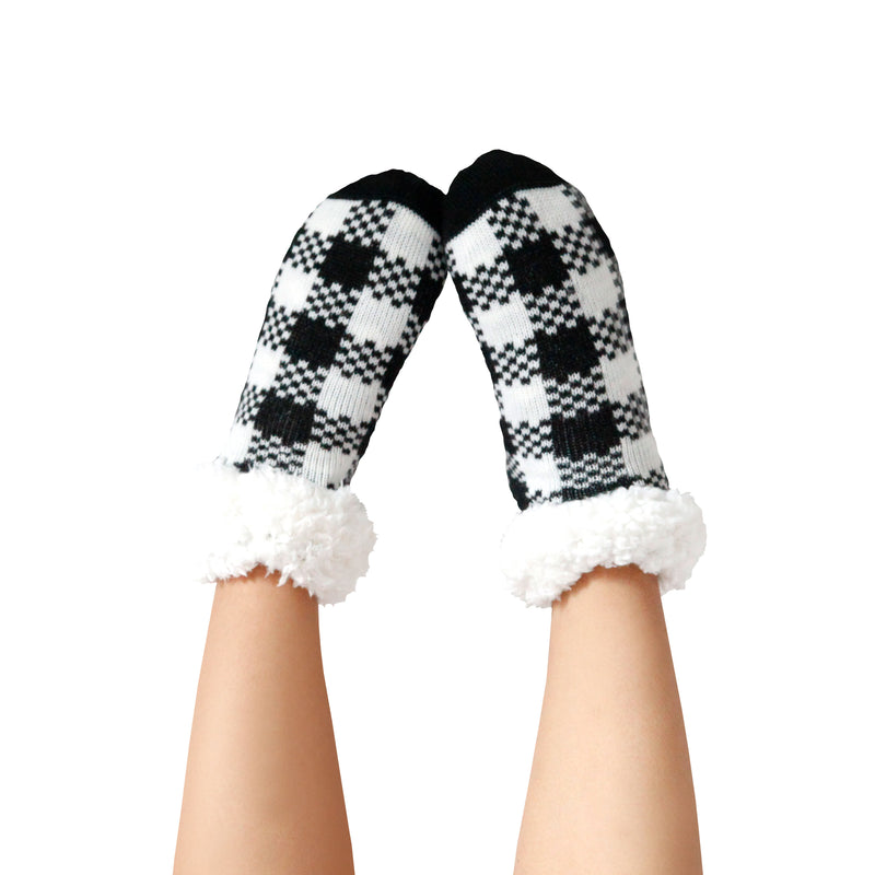 Women's Holiday Santa Baby Slipper Socks with Sherpa Lining