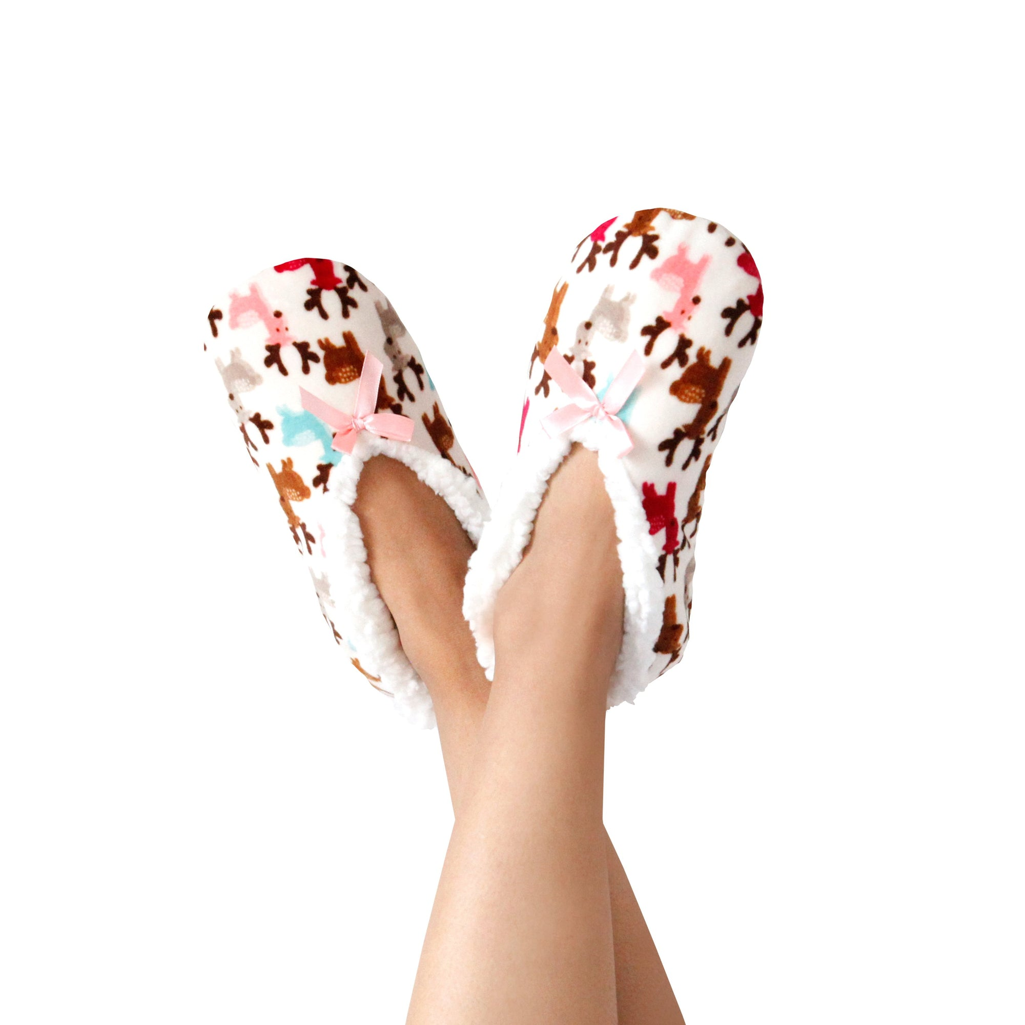 Women's Reindeer Print Stretchy Holiday Slipper Socks