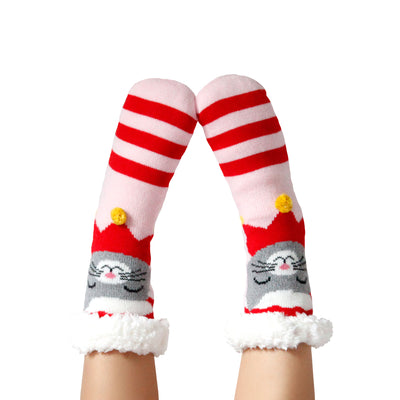 Womens Santa Cat Holiday lipper Socks with Sherpa Lining