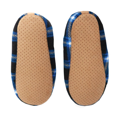 Men's Black and Blue Checkered Slipper Socks