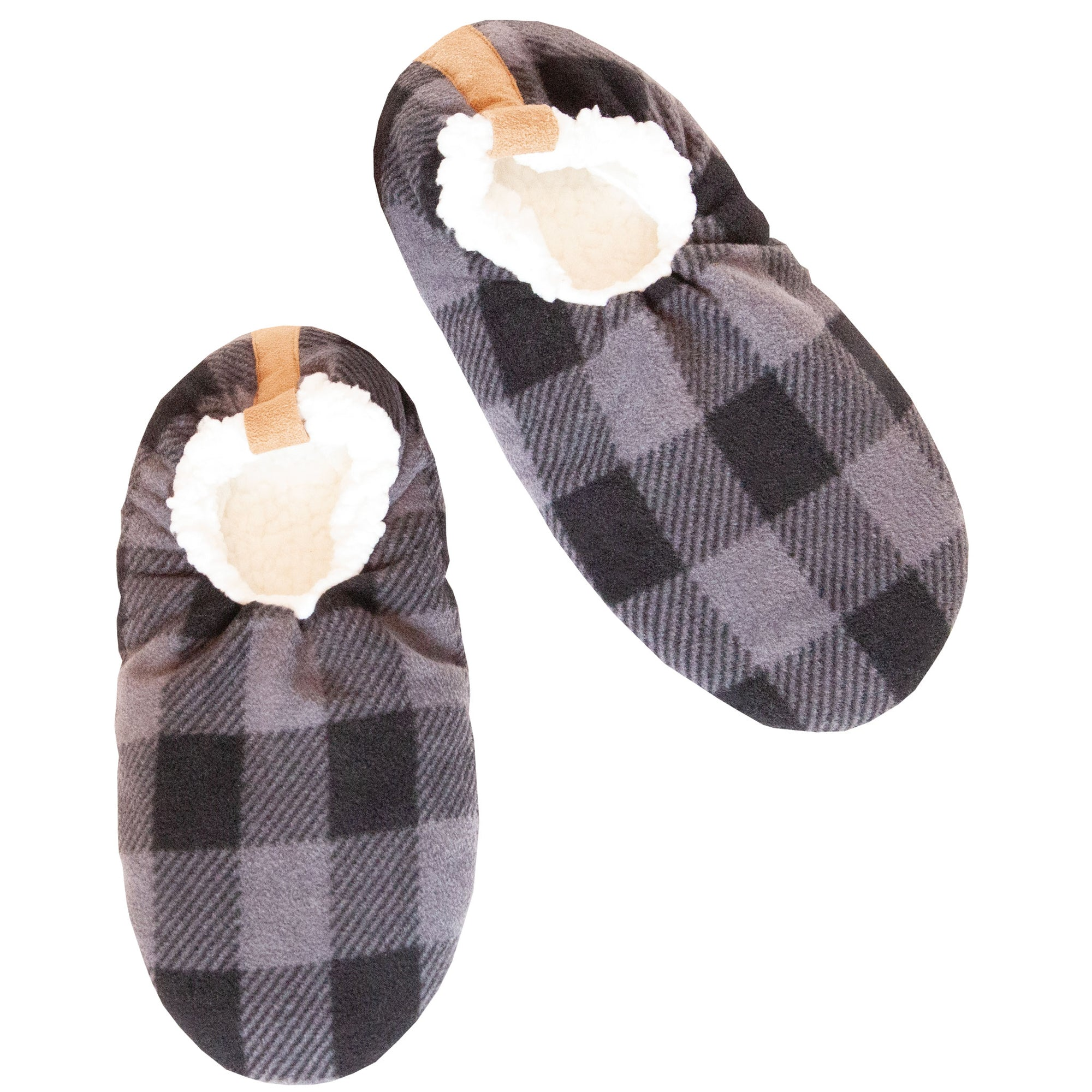 Men's Gray Plaid Slipper Socks
