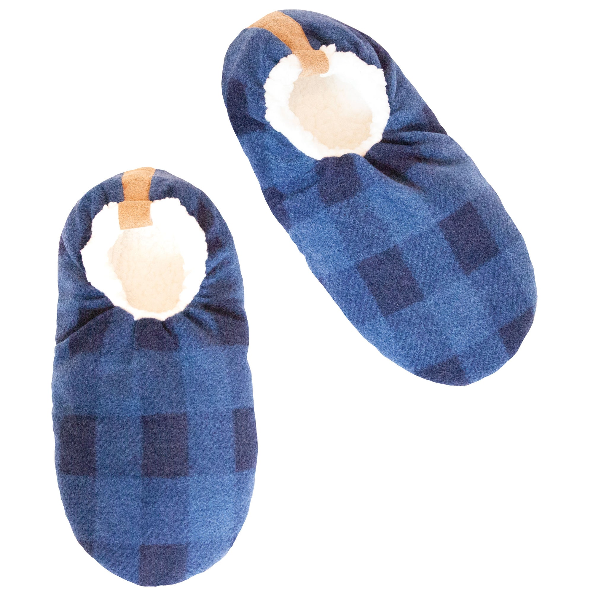 Men's Navy Buffalo Check Slipper Socks
