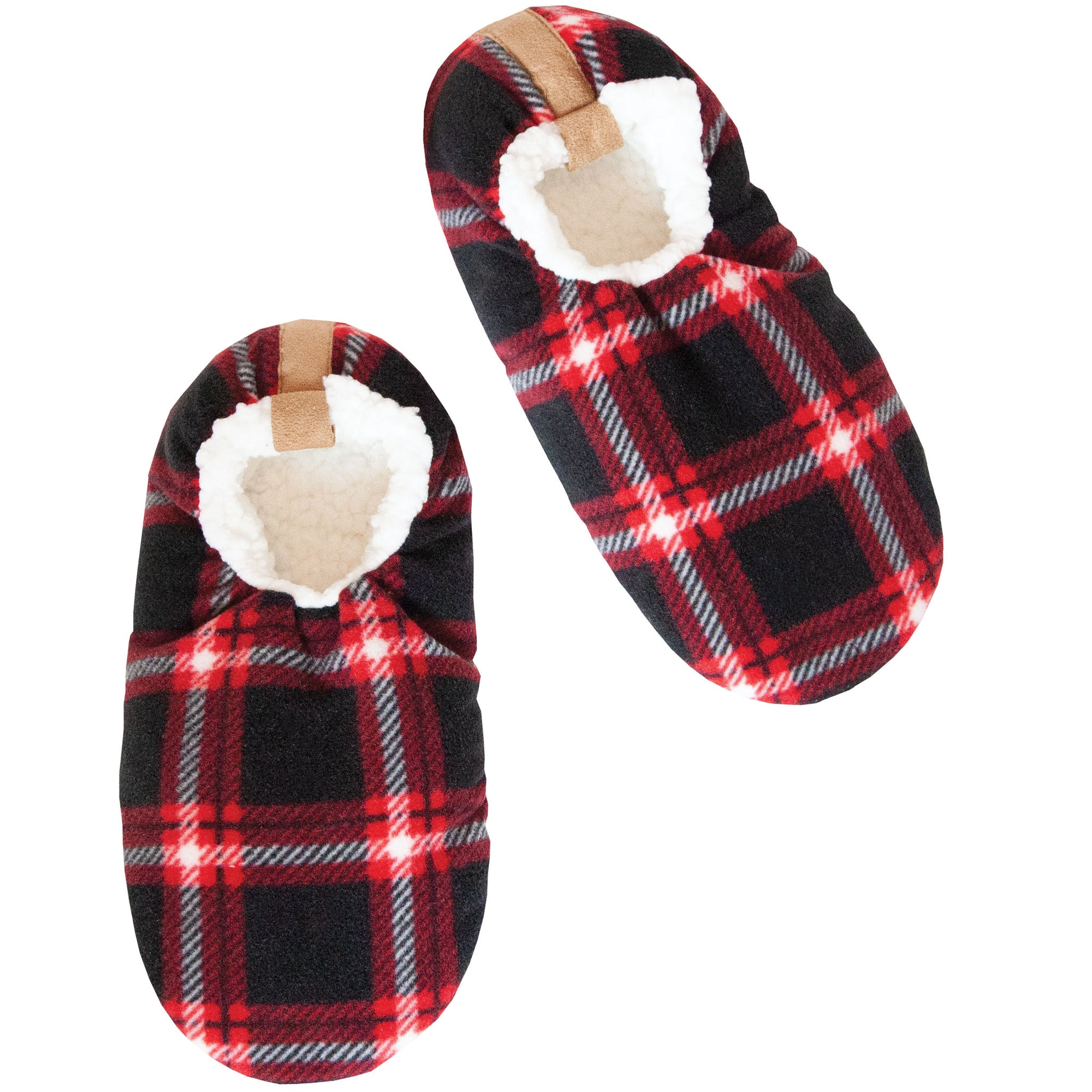Men's Black and Red Checkered Slipper Socks