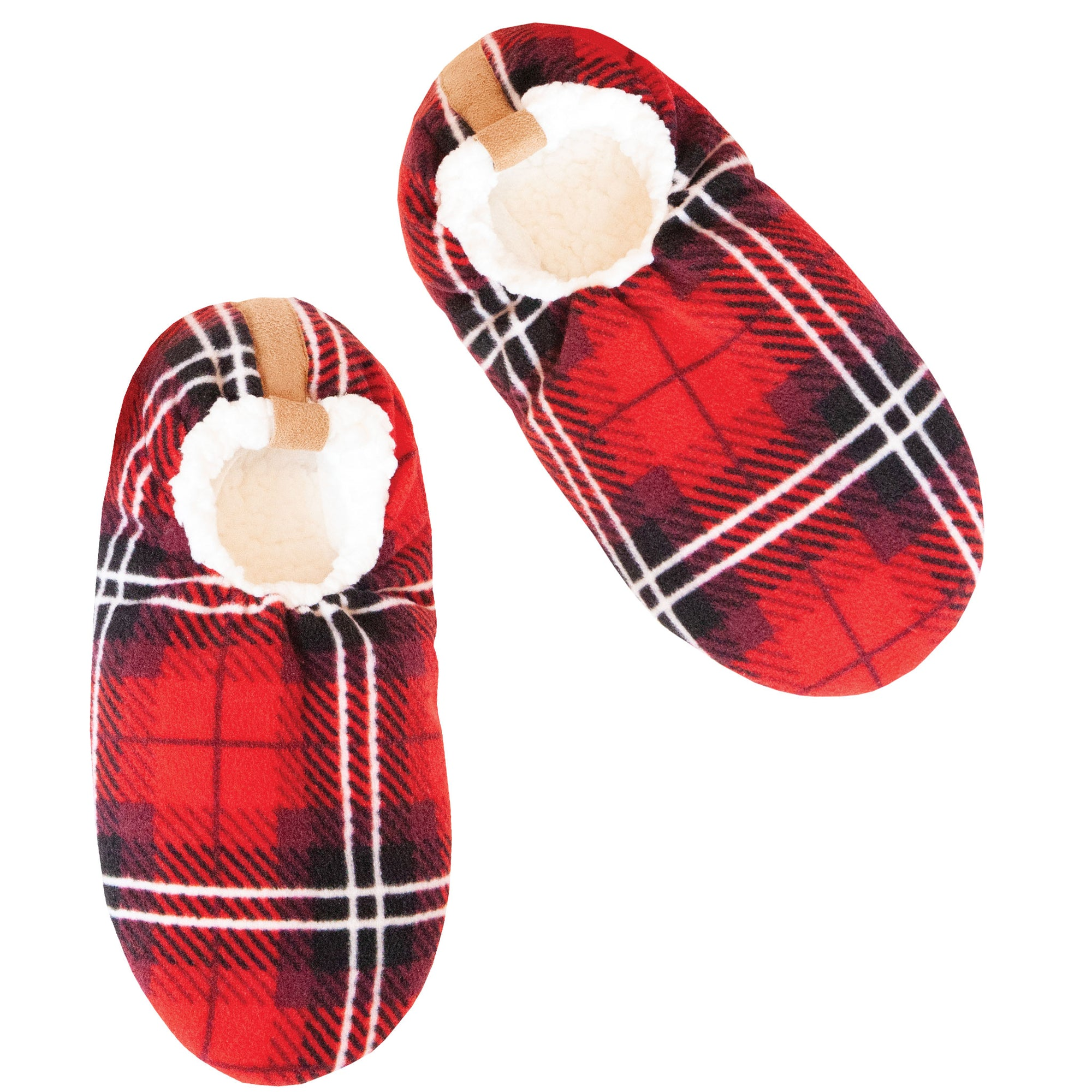 Men's Red Plaid Slipper Socks