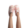 Womens Super Plush Slipper Socks with Pink Camo Print and Ankle Closure