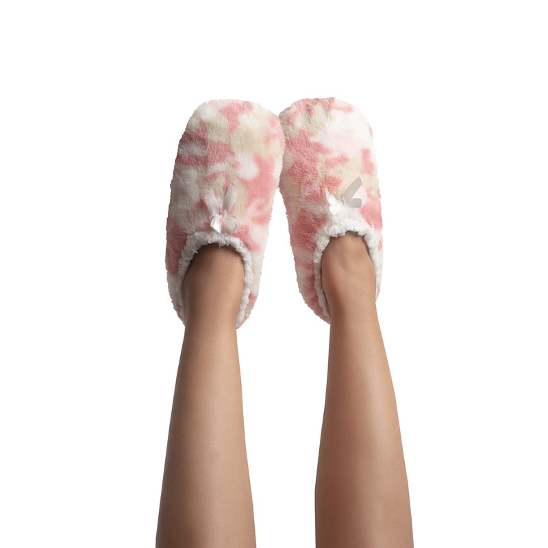 Womens Super Plush Slipper Socks with Pink Camo Print and Cozy Ankle Closure