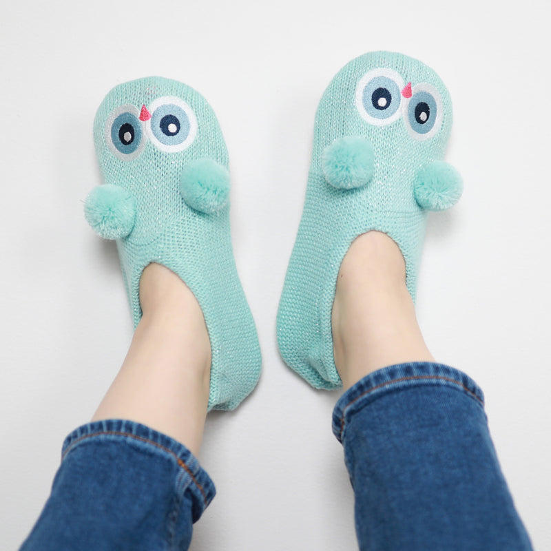 Women's Owl Airy Knit Slipper Sock