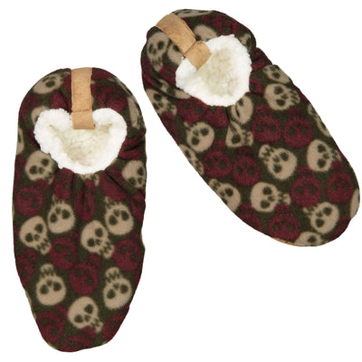 Men's Skull Print Slipper Sock - Fuzzy Babba