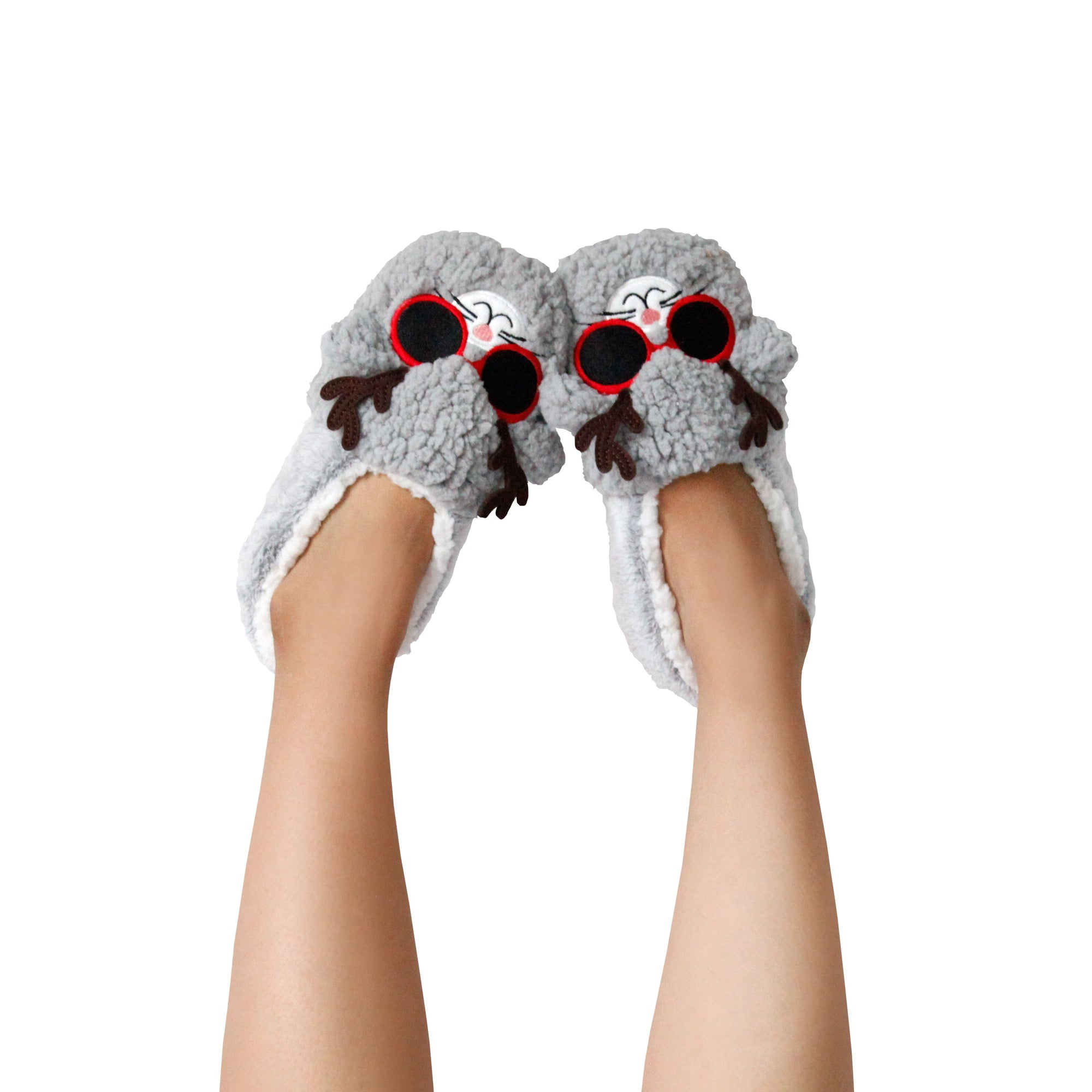 Women's Dreamy Cat Face with Reindeer Glasses Slipper Socks