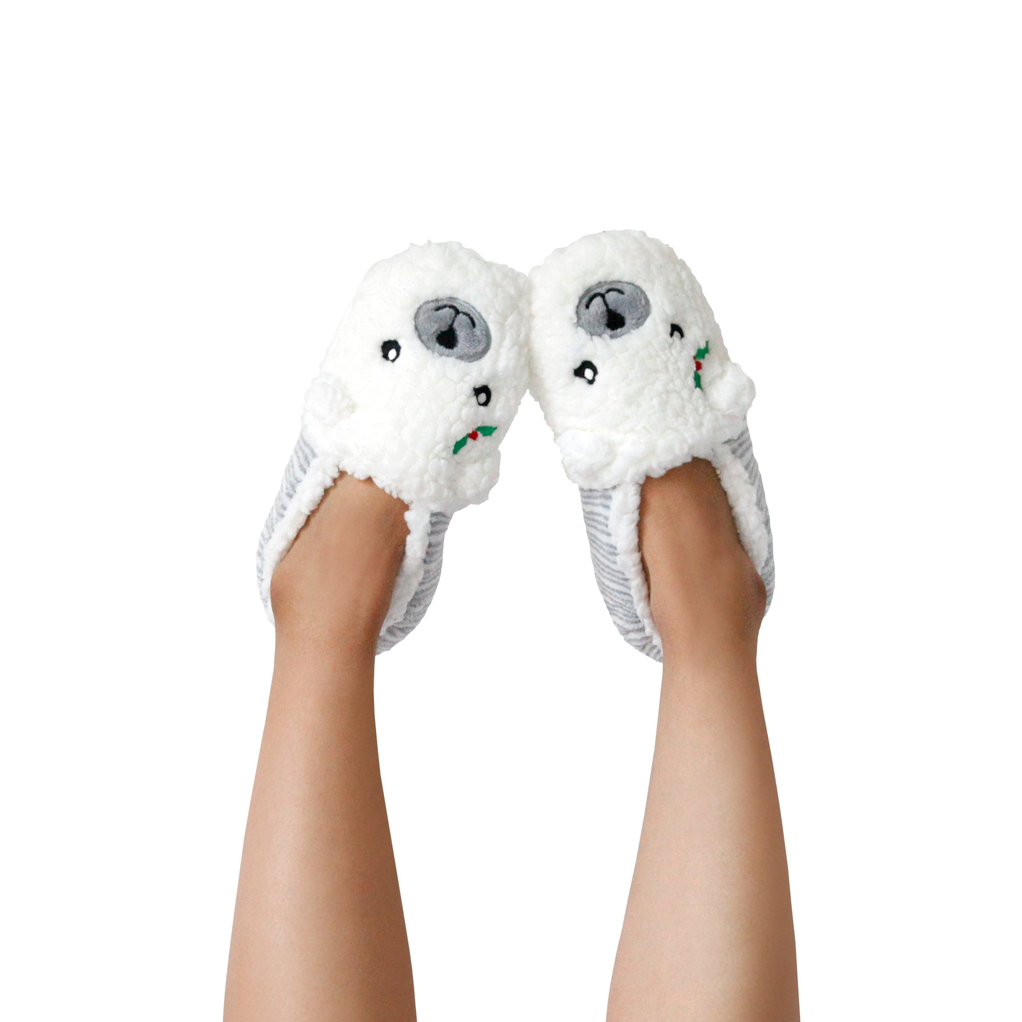 Women's Dreamy Polar Bear with Mistletoe Holiday Slipper Socks