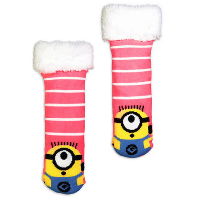 Kids Despicable Me Minion Cozy Striped Slipper Sock - Fuzzy Babba