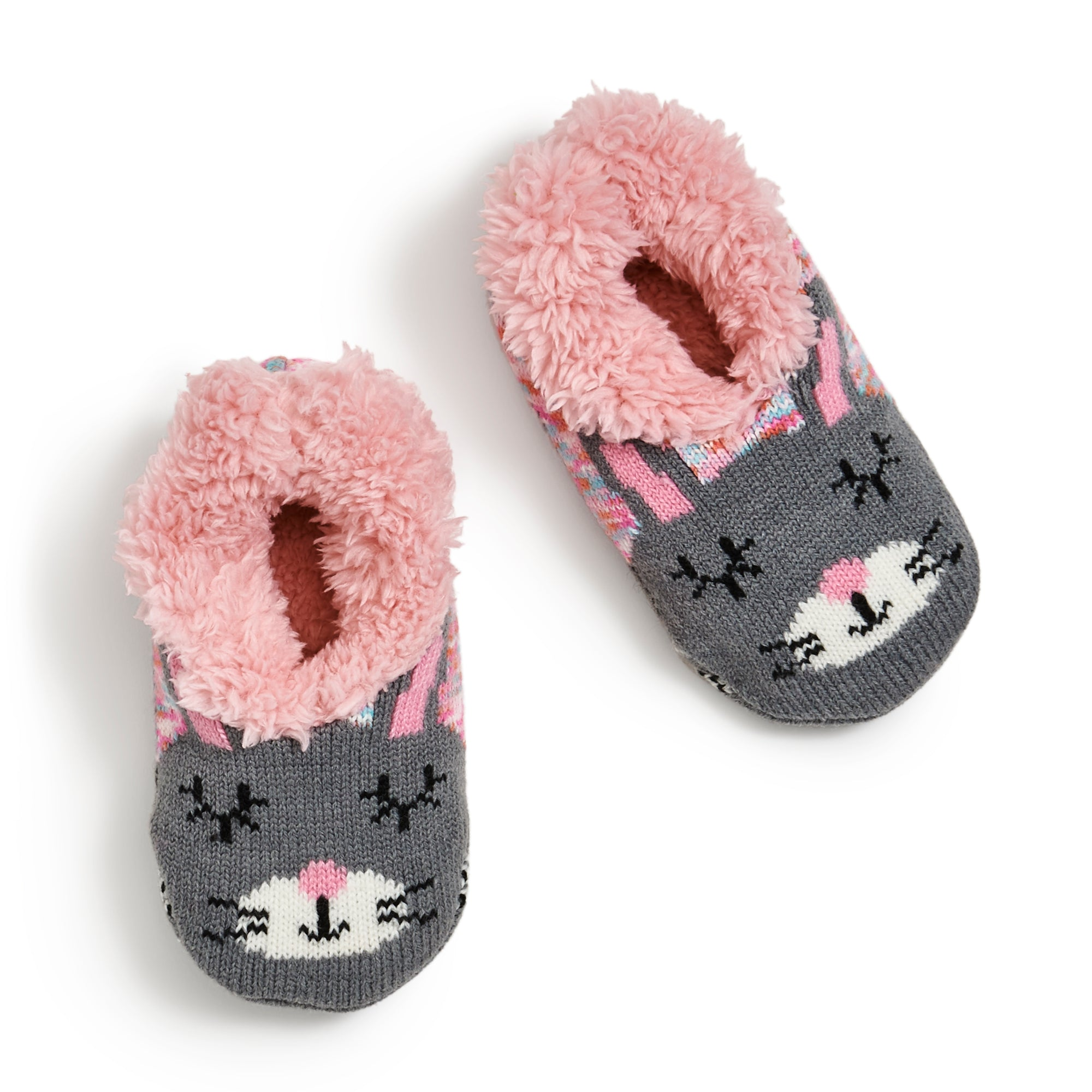 Girls Bright Bunny Knit Slipper Sock