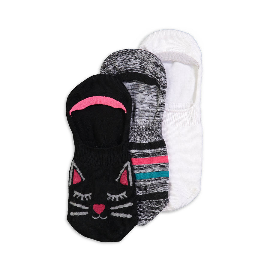 Women's 3-pack Kitten Invisible Socks - Fuzzy Babba