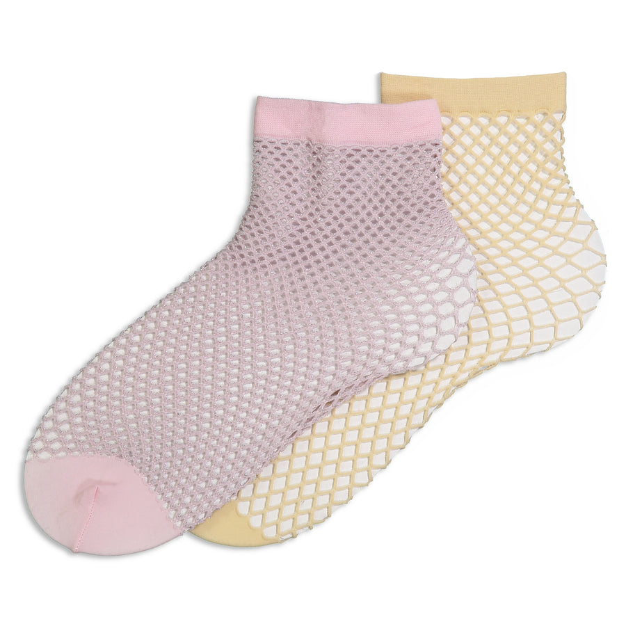 Women's 2-pack Fishnet Mid-Crew Socks