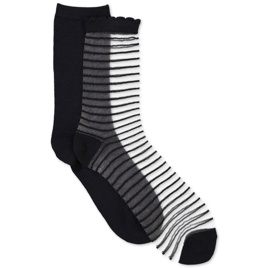 Women's 2-pack Striped Illusion Mid-Crew Socks - Fuzzy Babba