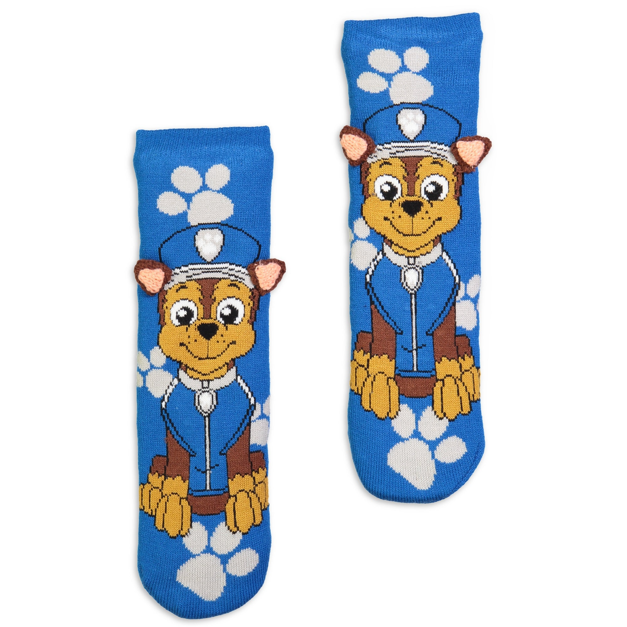 Kids Paw Patrol Chase Slipper Sock with 3D Ears - Fuzzy Babba