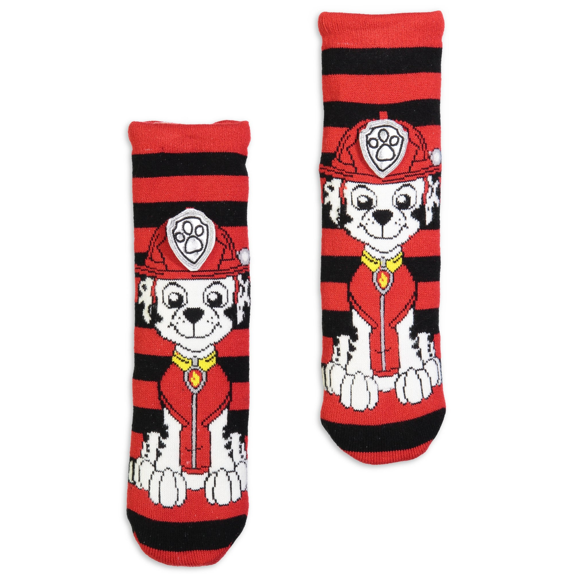 Kids Paw Patrol Marshall Striped Slipper Sock with 3D Ears - Fuzzy Babba
