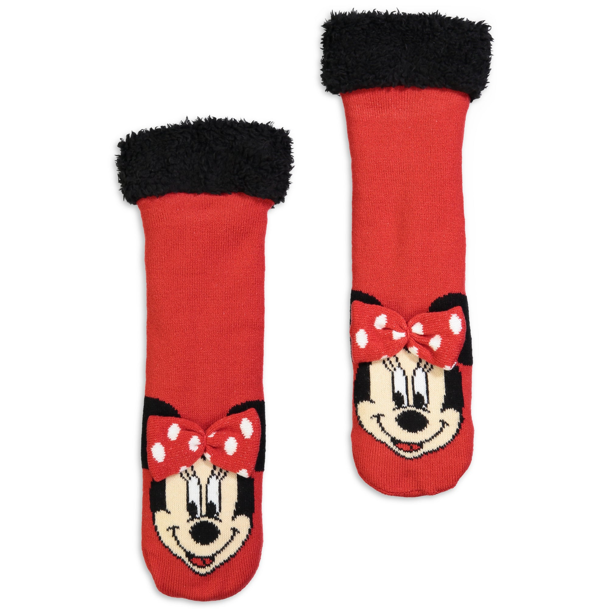 Kids Minnie Mouse Slipper Sock with 3D Bow