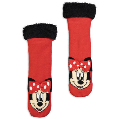 Kids Minnie Mouse Slipper Sock with 3D Bow - Fuzzy Babba