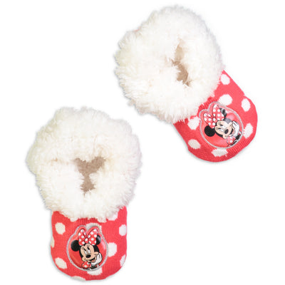 Infant/Toddler Minnie Mouse Knit Slipper Sock - Fuzzy Babba