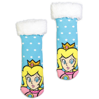 Kids Princess Peach Cozy Slipper Sock - Fuzzy Babba