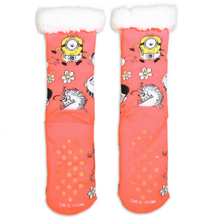 Women's Despicable Me Neon Slipper Sock - Fuzzy Babba